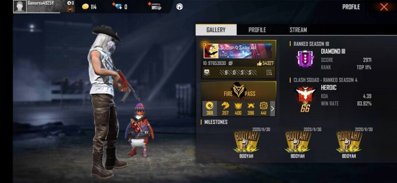 Sudip Sarkar's Free Fire ID Number, stats, and K/D ratio and much more