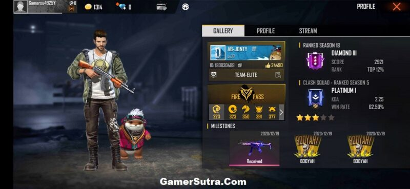 Jonty Gaming's Free Fire ID, Lifetime stats, Real Name, Country