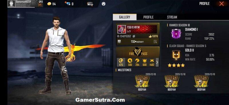 TSG Ritik's Free Fire Stats