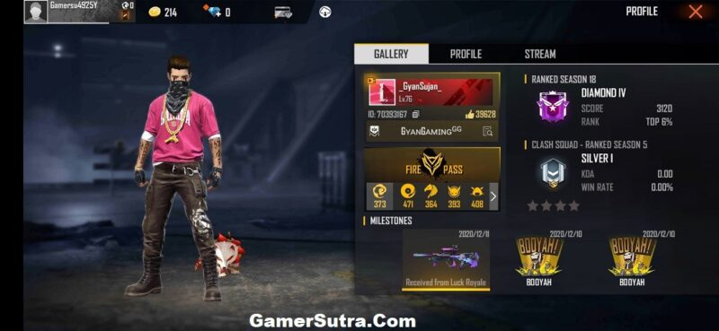 Gyan Gaming: Free Fire ID, Free Fire stats, and Real Name