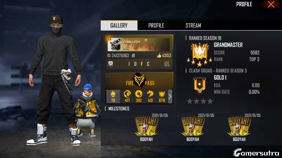 Ankush Free Fire's Free Fire ID, Free Fire stats, Real name and more