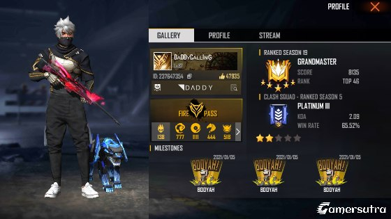 Daddy Calling's Free Fire ID, Free Fire stats, and more