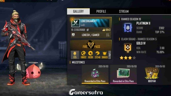 Lokesh Gamer's Free Fire ID, Lifetime stats, Real name and more