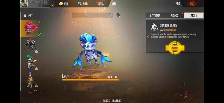 Free Fire New Dreki Pet Full Details