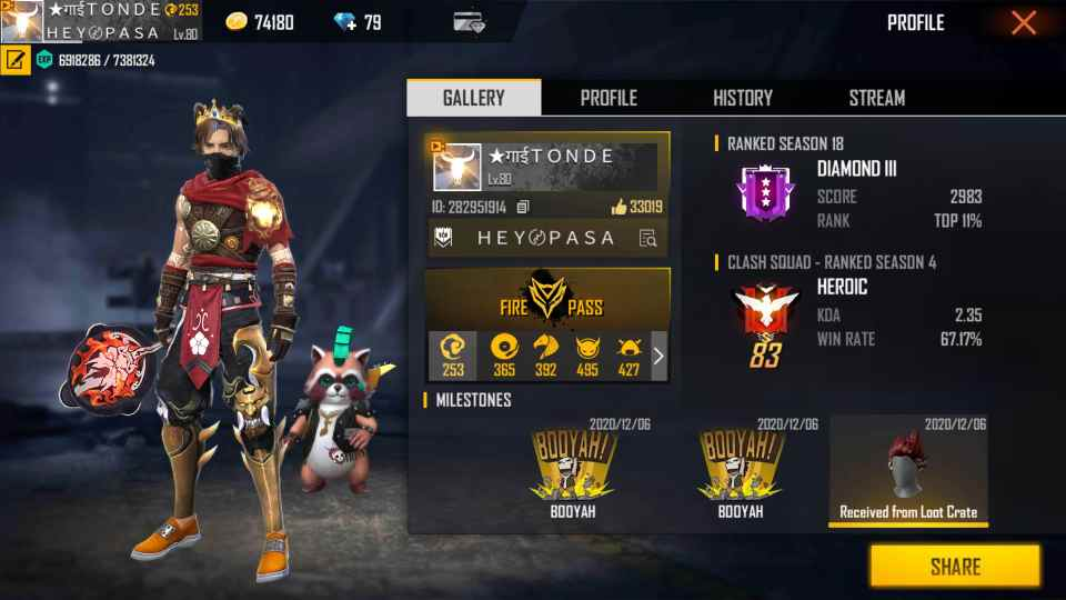 Tonde Gamer Free Fire ID, Lifetime stats, Real name, Country, and more