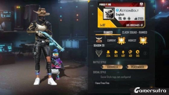 Action Bolt's Free Fire ID Number, Lifetime stats, Real name, Country and more