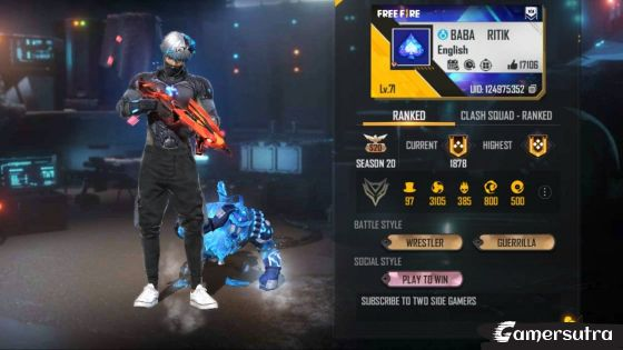 TSG Ritik's Free Fire ID Number, stats, Real name, and more